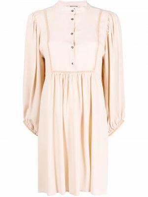Платье макси с длинными рукавами - бежевое Semicouture