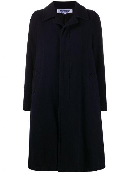 Синее шерстяное длинное пальто с воротником Comme Des Garçons Comme Des Garçons