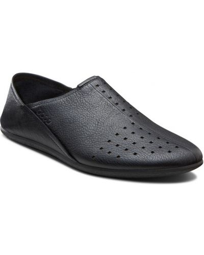 Слипоны черные кожаные Ecco