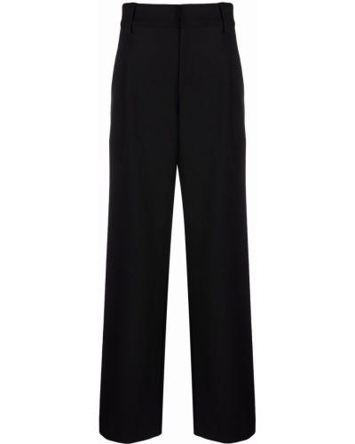 Czarne spodnie z wysokim stanem z paskiem Soulland