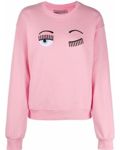 Хлопковый розовый джемпер с вышивкой в рубчик Chiara Ferragni