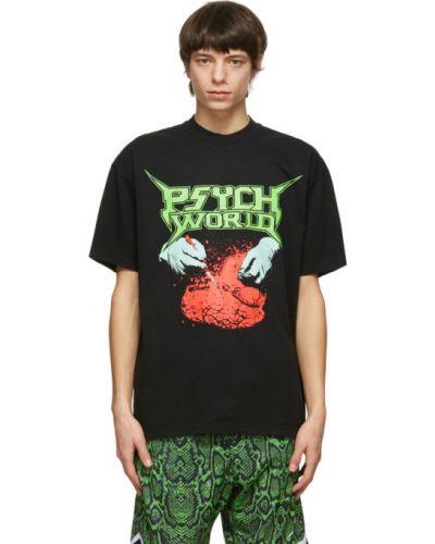 Czarny t-shirt bawełniany krótki rękaw Psychworld