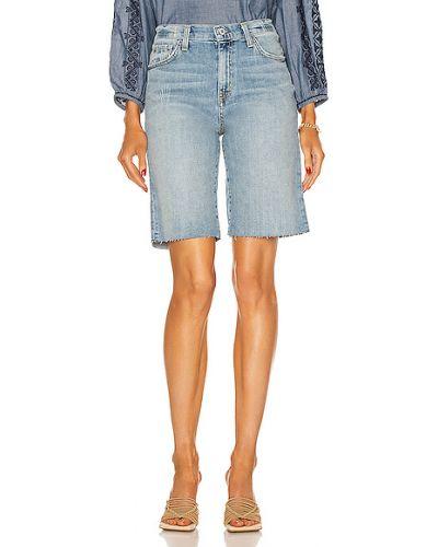 Синие ватные джинсовые бермуды с карманами Nili Lotan