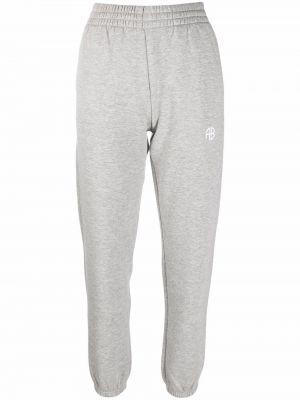 Хлопковые серые спортивные брюки с вышивкой Anine Bing