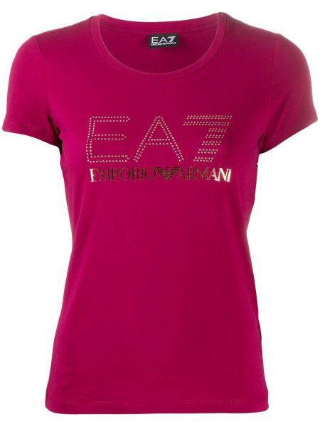 Хлопковая розовая прямая футболка с круглым вырезом Ea7 Emporio Armani