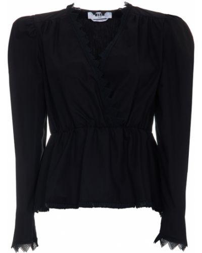 Czarna bluzka z długimi rękawami Msgm