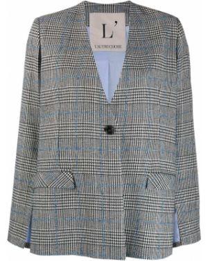 Прямой черный удлиненный пиджак с карманами L'autre Chose