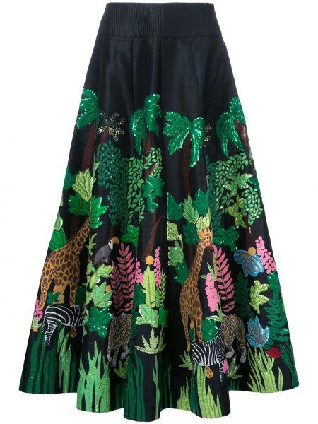 Черная ажурная юбка макси Manish Arora
