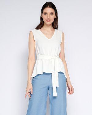 С рукавами хлопковая блузка без рукавов с поясом с V-образным вырезом Fiato