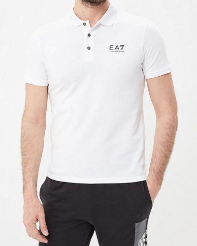 Белое поло с коротким рукавом Ea7