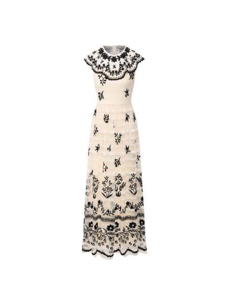 Платье миди с вышивкой с бисером Redvalentino