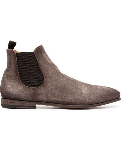 Brązowy skórzany buty obcasy na pięcie Officine Creative