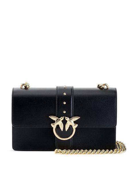 С ремешком черная кожаная сумка через плечо Pinko