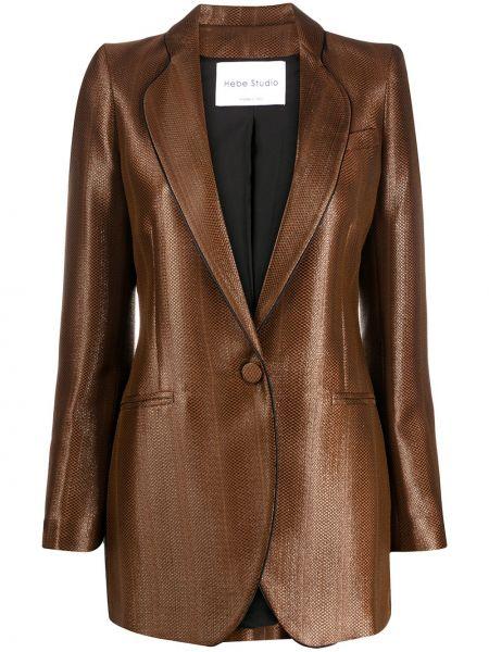 Коричневый приталенный классический пиджак с карманами из вискозы Hebe Studio