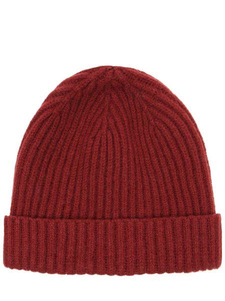 Красная кашемировая классическая шапка с отворотом Panicale