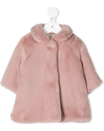 Розовая длинная шуба из искусственного меха с воротником Il Gufo