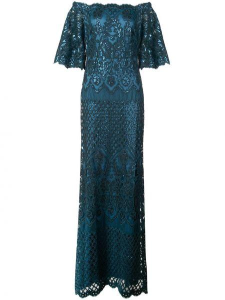 Нейлоновое приталенное платье с вышивкой на молнии Tadashi Shoji