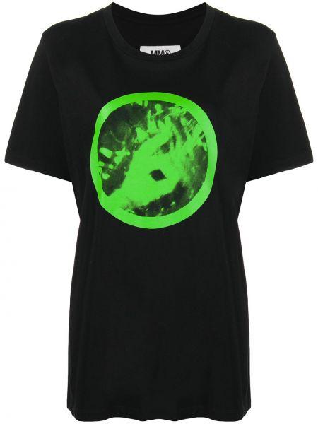 Bawełna prosto czarny koszula z krótkim rękawem okrągły dekolt Mm6 Maison Margiela