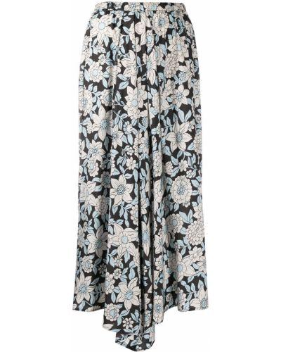 Шелковая черная юбка миди в цветочный принт Christian Wijnants