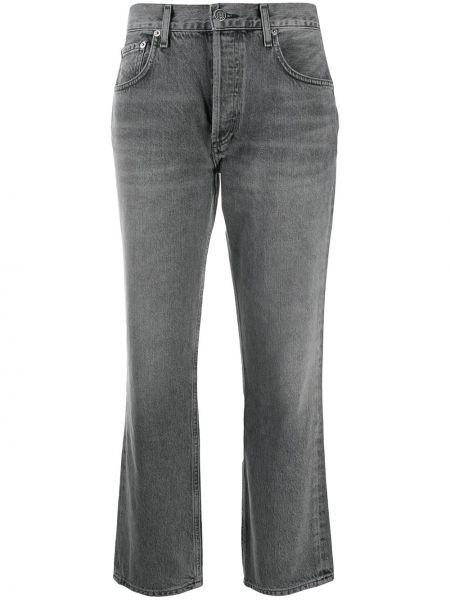 Bawełna niebieski jeansy do kostek z kieszeniami z łatami Agolde