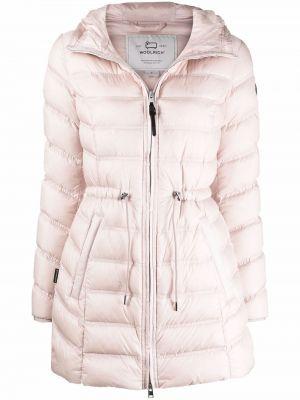 Розовое стеганое полупальто Woolrich