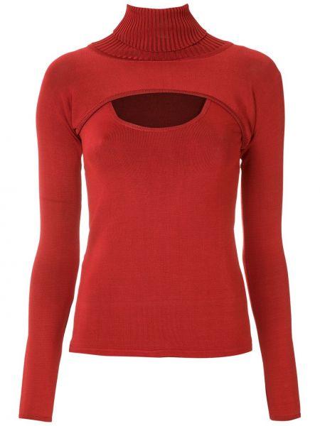 Красная блузка с длинным рукавом с воротником узкого кроя из вискозы Reinaldo Lourenço