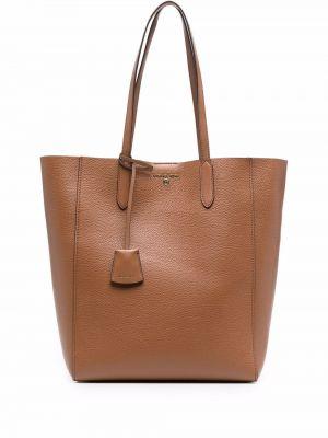 Кожаная коричневая сумка шоппер Michael Michael Kors