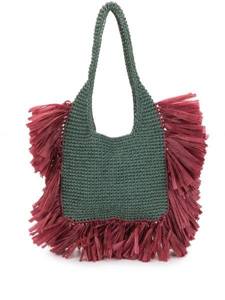 Зеленая соломенная сумка-тоут с бахромой 0711