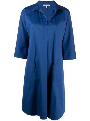 С рукавами синее платье миди с вырезом Antonelli