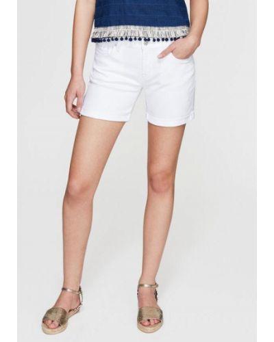 Хлопковые белые джинсовые шорты с отворотом Mavi