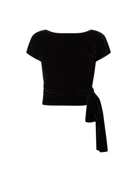 Czarna bluzka z aksamitu V By Vera Mont