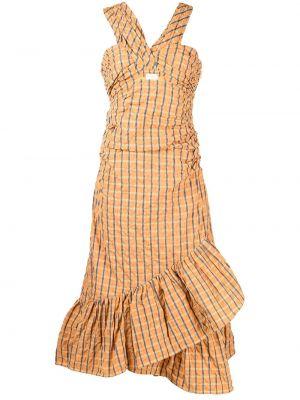 Оранжевое платье с оборками Cinq À Sept
