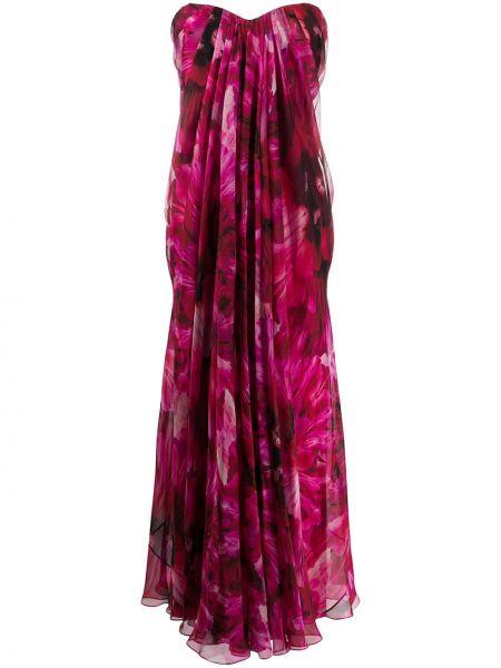 Вечернее платье с цветочным принтом на молнии Alexander Mcqueen