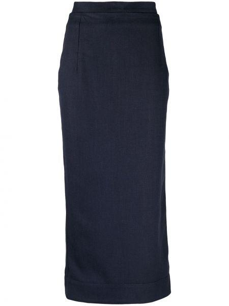 С завышенной талией синяя юбка карандаш из вискозы Jacquemus