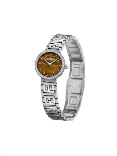 Szary zegarek ze srebra stal nierdzewna z klamrą Fendi