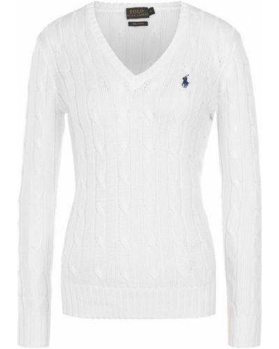Свитер с V-образным вырезом белый Polo Ralph Lauren