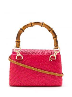 Кожаная розовая соломенная кожаная сумка Serpui
