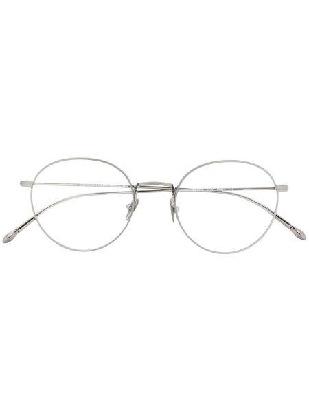 Prosto srebro oprawka do okularów okrągły metal Giorgio Armani