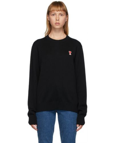 Шерстяной черный свитер с воротником с вышивкой Ami Alexandre Mattiussi