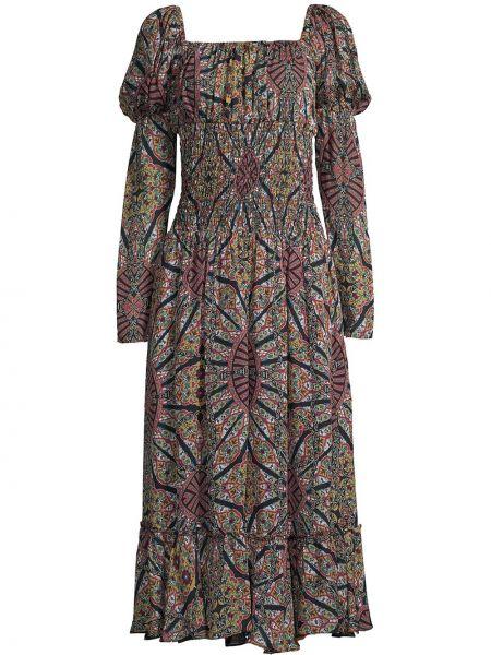 Шелковое платье миди - черное Nicole Miller