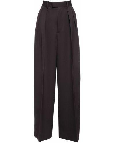 Шерстяные коричневые брюки с карманами Bottega Veneta