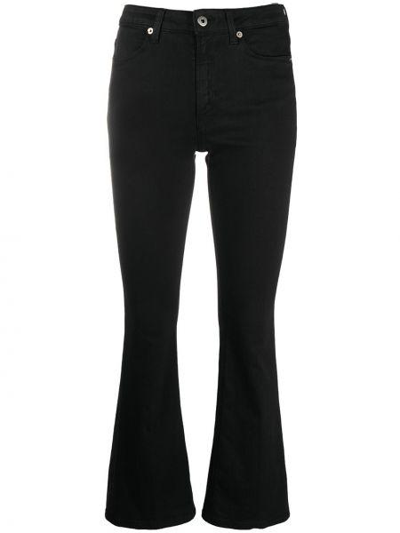 Расклешенные с завышенной талией черные укороченные джинсы Dondup