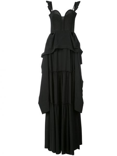 Шелковое платье макси - черное Vera Wang