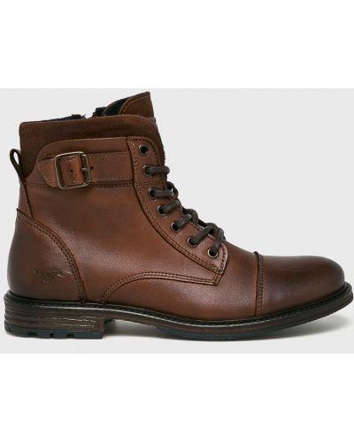 Кожаные ботинки высокие коричневый Mustang