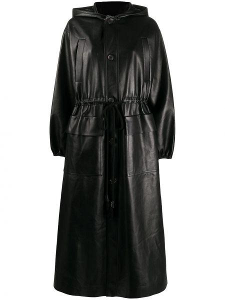 Czarny płaszcz z kapturem skórzany Nanushka