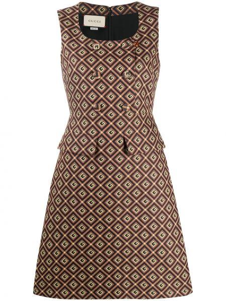 Jedwab czarny sukienka bez rękawów z kieszeniami Gucci