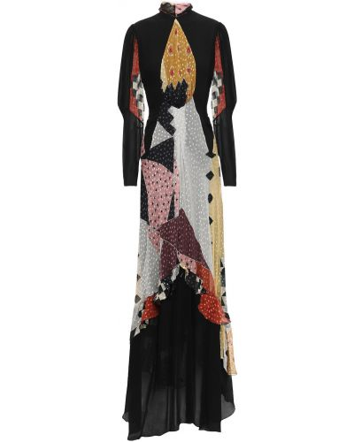Шифоновое черное платье макси с подкладкой Etro