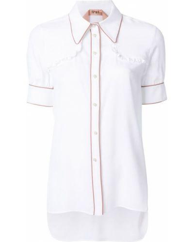 Классическая рубашка с коротким рукавом с оборками N21