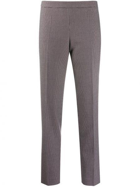 Хлопковые коричневые брюки узкого кроя на молнии Boss Hugo Boss