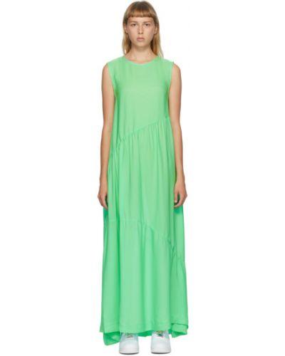 Jedwab zielony długo sukienka bez rękawów na hakach Collina Strada